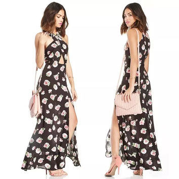 Black Floral Print Cutout Chiffon Beach Maxi Dress