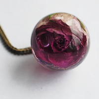 Real Rose Necklace Purple Pink Resin Jewelry Real Flower Statement Orb Eternal Love Romantic Gift Specimen Necklace Crystal Ball Large Bead