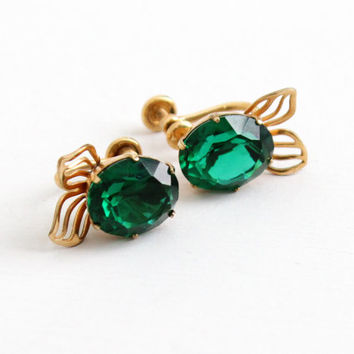 Vintage 12k Gold Filled Simulated Emerald Screw Back Stud Earrings - Green Glass Stone Clip On Jewelry Hallmarked Van Dell