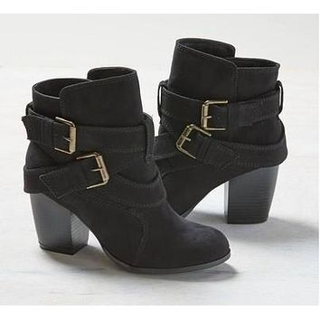 Ladies Casual Suede Leather Ankle Boots with Double Buckle