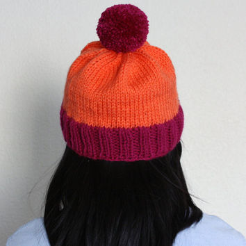 Vacation Hat in Neon Orange & Magenta - READY TO SHIP