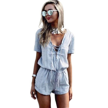 S-XL Women Clothing Summer Deep V-Neck Clubwear Playsuit Party Bodycon Jumpsuit Romper Short Sleeve Plus Size