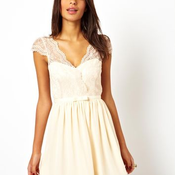 ASOS Skater Dress With Scalloped Wrap - Nude