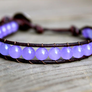 Beaded Leather Single Wrap Stackable Bracelet with Amethyst Purple Quartzite Lilac Beads on Brown Leather Spring Summer