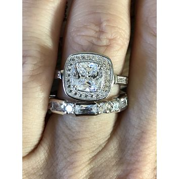 A Bespoke 2CT Cushion Cut Russian Lab Diamond Bridal Set
