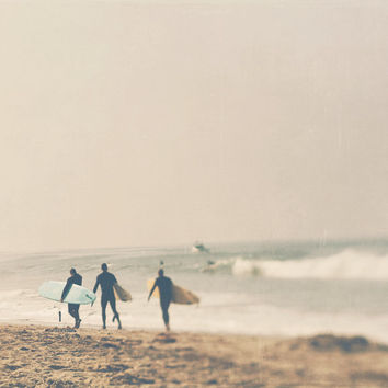 surfer photograph, surfers with surfboards, gray, neutral, earth tones, for him, boys room decor, beach California ocean, yellow gold, sport