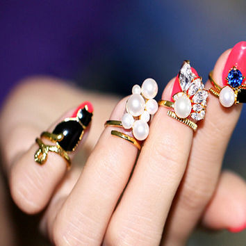 Cute Blue and Black Rhinestone Finger 4pcs Ring