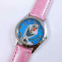 "Frozen ""Olaf"" Pink Leather Watch...New..Great for Kids"