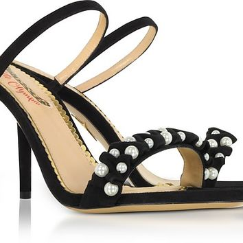 Charlotte Olympia Black Suede High Heel Slide Sandals