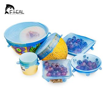 FHEAL 6pcs/set Silicone Stretch Lids Food Bowl Cover Lid Seal Box Fridge Storage Cover Kitchen Tools Pan Saran Wrap Cling Film