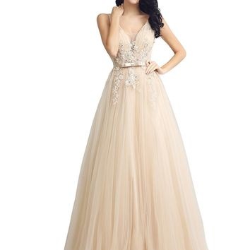 Topwedding Womens Tulle Applique Prom Dresses Long 2018 V-Neck Beaded Evening Ball Gowns
