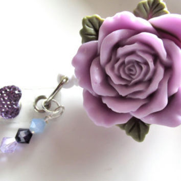 Lavender Rose Badge Reel, Flower Badge Reel, Swivel Badge ID