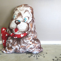 Vintage 1960's Dog Pillow Cocker Spaniel Pillow Throw Pillow Childs Pillow Boy Room Decor Brown Dog Puppy Pillow