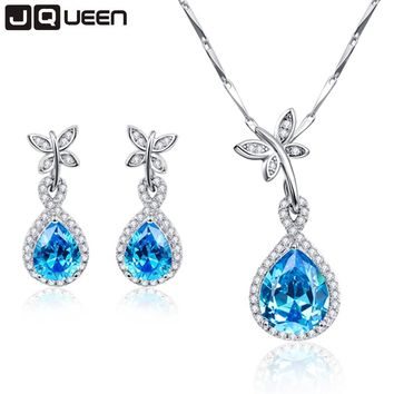 JQUEEN Women's Genuine Natural Blue Topaz and White Austria Butterfly Crystal Jewelry Set