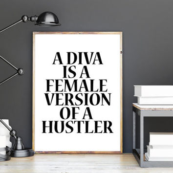 DIVA Print of Hand Painted Fashion Illustration Typography Fashion Wall Art Beyonce Quote Office Decor Beyonce Print Beyonce