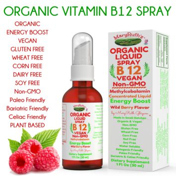 ORGANIC VITAMIN B12 (Methylcobalamin) Liquid Spray ENERGY BOOST 1oz