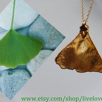 Real Leaf Jewelry, 24K Gold Electroplated Genuine Ginko Leaf Pendant Necklace, Nature Jewelry, Unique Pendant