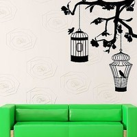 Wall Sticker Vinyl Decal Cage Bird Tree Branches Decor Living Room Unique Gift (ig1251)
