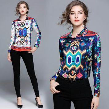 Women Long Sleeve Print Shirt Elegant Turn Down Collar Brand Design Shirt Ladies OL Work Wear Office Blouse