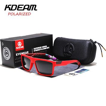 Sports Sunglasses Men HD Polarized Sunglasses Red Square Frame Reflective Coating Mirror lens UV400