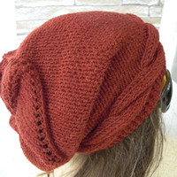 Womens Hat -  Knit hat -  Cable knit hat  - Slouchy Hat with Button -  Rust Orange  Hat -   Winter fashion Accessories - Winter Hat