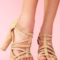 Braided Strap Platform - Tan