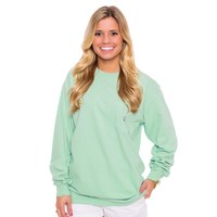 Embroidered Long Sleeve Pocket Tee in Herbal Mist by The Southern Shirt Co.