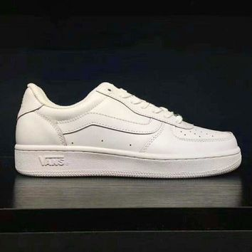 Gotopfashion VANS Classic Leather Old Skool Flats Shoes Sneakers Sport Shoes All White I-AD-CXLM