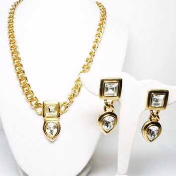 Swarovski Rhinestone Necklace & Earring Set - Modernist Chunky Abstract Retro Demi Parure - Clear Rhinestones - Signed S.A.L.