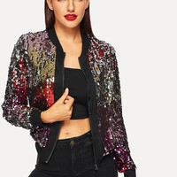 Zip-Up Sequin Jacket