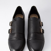 Faux Leather Buckled Oxfords