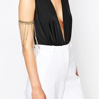 Love Rocks Rhinestone Drape Arm Cuff