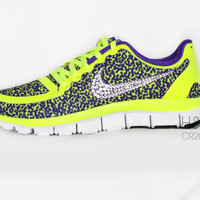 Women's Nike Free 5.0 v4 in Volt/ Hyper Grape/ Hyper Grape-White with Swarovski crystal details