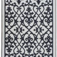 Winding Lace Eco-Friendly Woven College Rug - Cream & Black
