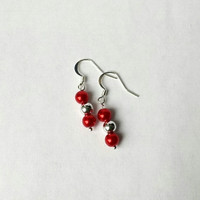 Christmas Earrings, Silver and Red Glass Pearl Balls