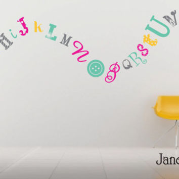 Children's Wall Decal Alphabet - Fun Funky Crazy Font - Children's Bedroom Nursery - Kids Vinyl Wall Art Room Decor Sticker - CL100