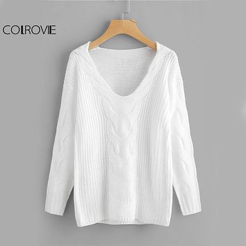 COLROVIE Cable Knit White Sweater Drop Shoulder Women Brief Basic Pullovers Fall 2017 Fashion Casual Long Sleeve Knitted Sweater