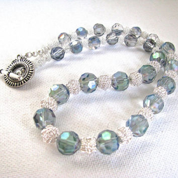 Blue Green Lustre Crystal and Silver Sparkly Necklace Choker