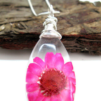 Bright Pink Daisy Resin Teardop Necklace - Real Flower Encased in Resin - Pressed Flower Jewelry - Resin Necklace -  Wire Wrapped Pendant
