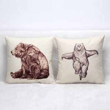 Vintage Printed Pillow Case Lovely Bruin Cushion Cotton Linen Cover Square 45X45CM