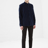 Totokaelo - A.P.C. Dark Navy Cord Button Up - $235.00