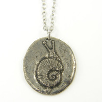 Silver Snail Necklace, Antique Pewter Snail Charm on Silver Plated Chain, Quote Pendant Necklace