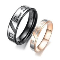 """Stainless Steel Cz Gem 18k Plated \""""True Love\"""" Engraved Couple Rings Set for Engagement, Promise, Eternity R010 (His Size 7, 8, 9, 10; Her Size 5, 6, 7, 8). Please Email Sizes: Jewelry: Amazon.com"""