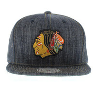 Chicago Blackhawks The Dark Denim Mesh SNAPBACK By Mitchell and Ness New Era Caps, Snapbacks, Bucket Hats, T-Shirts, Streetwear USA Cranium Fitteds