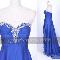 Strapless Sweetheart with Crystal Front Short Long Back Chiffon Royal Blue Prom Dresses, Formal Gown, Evening Gown, Homecoming Dresses