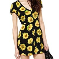 Muke Women's Short Sleeve V Collar Sunflower Dress
