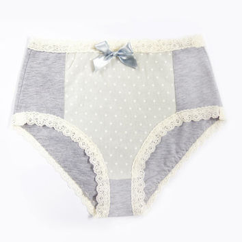 Romantic hipster/ high waist lingerie panty grey cotton cream lace with grey ribbon handmade - size s-xl