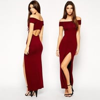 2015 Womens collar strapless sexy slit tight oval back was thin short-sleeved dress wine red = 1753730564