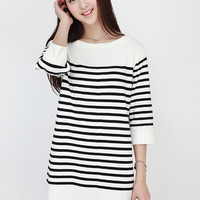 Striped Long Sleeve Mini Sweater