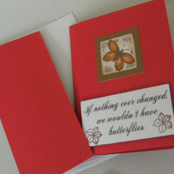 CIJ Day 22 Butterfly Encouragement Graduation Handmade Card FREE SHIPPING